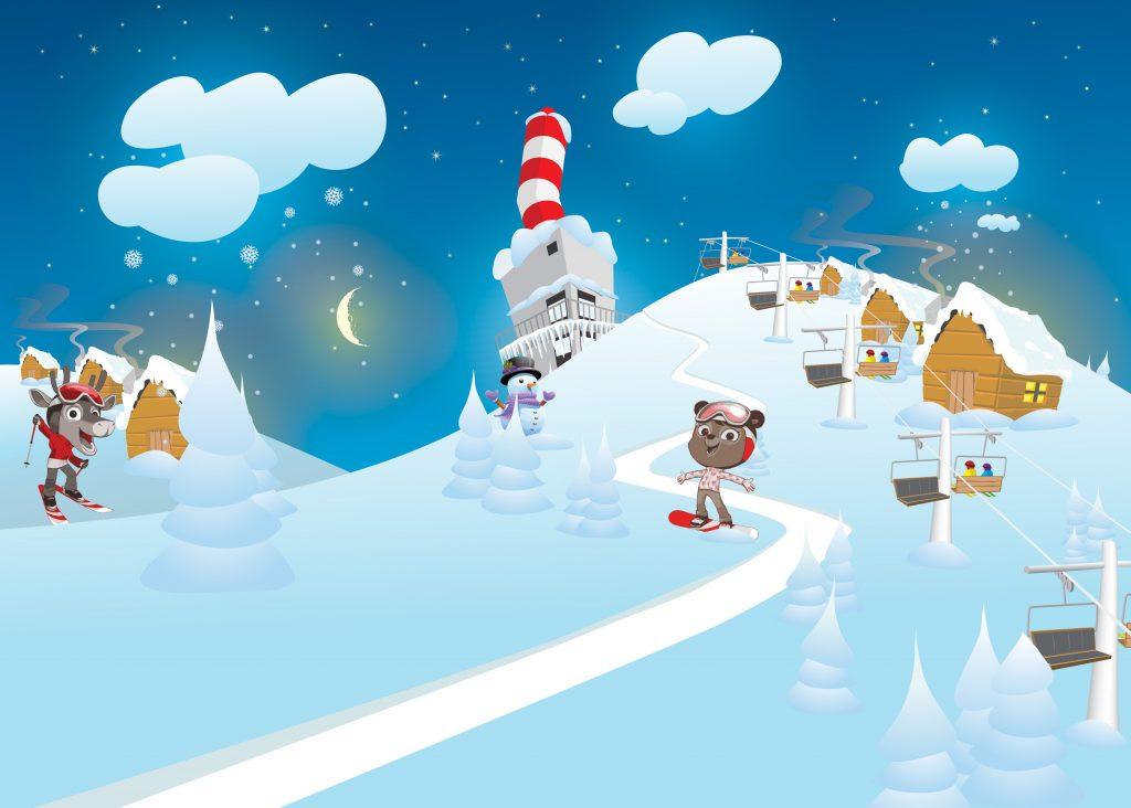 Uudistetut Rosa & Rudolf-hahmot seikkailevat myös leikkihuoneen ison takaseinän tapetissa. Kuva Fantasia Works.