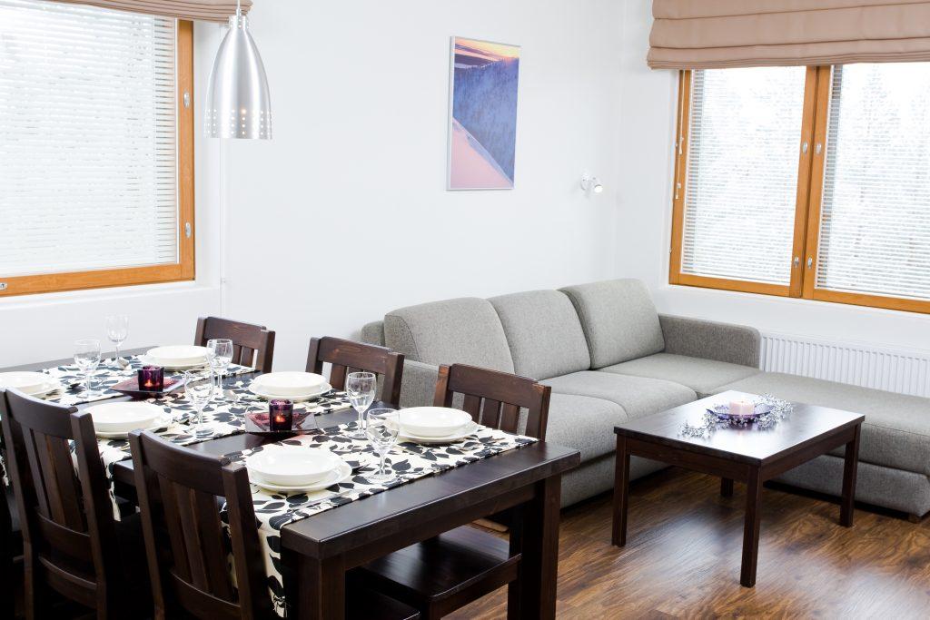 Pyhän Ski-Inn –huoneistoissa lämmityksen ja valaistuksen hiilipäästöt ovat nolla. Kuvat Pyhätunturi.